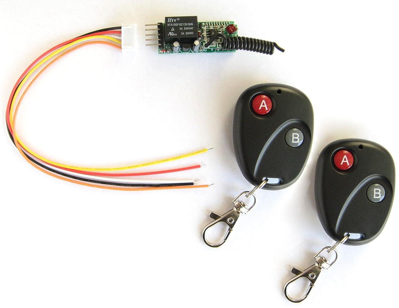 2 Sender Safari Drives 1 Kanal 12V Mini AC DC Ferngesteuerter Relaisschalter Empf/änger
