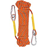 Xbenクライミングロープ ザイル 多目的ロープ径8mm/10.5mm懸垂下降ロッククライミング 登山用ロープ 芯13本の頑丈な高強度 多機能 安全ロープ フック&カラビナ付き ザイル&ロープ10m、20m、30m、50mお選べます