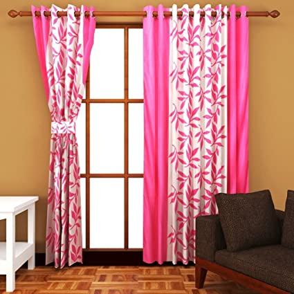 Super India Floral Polyester Window Curtain(Pack of 1) - 5ft, Pink