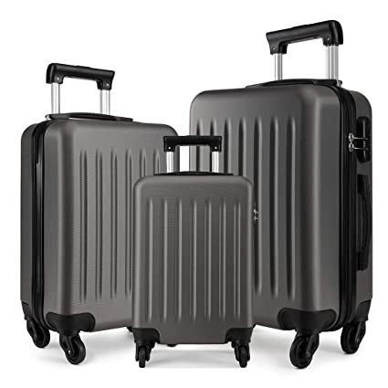 e78d4076d Kono Luggage Sets 3pcs Hard Shell Suitcases with 4 Spinner Wheels Light  Weight ABS Travel Trolley