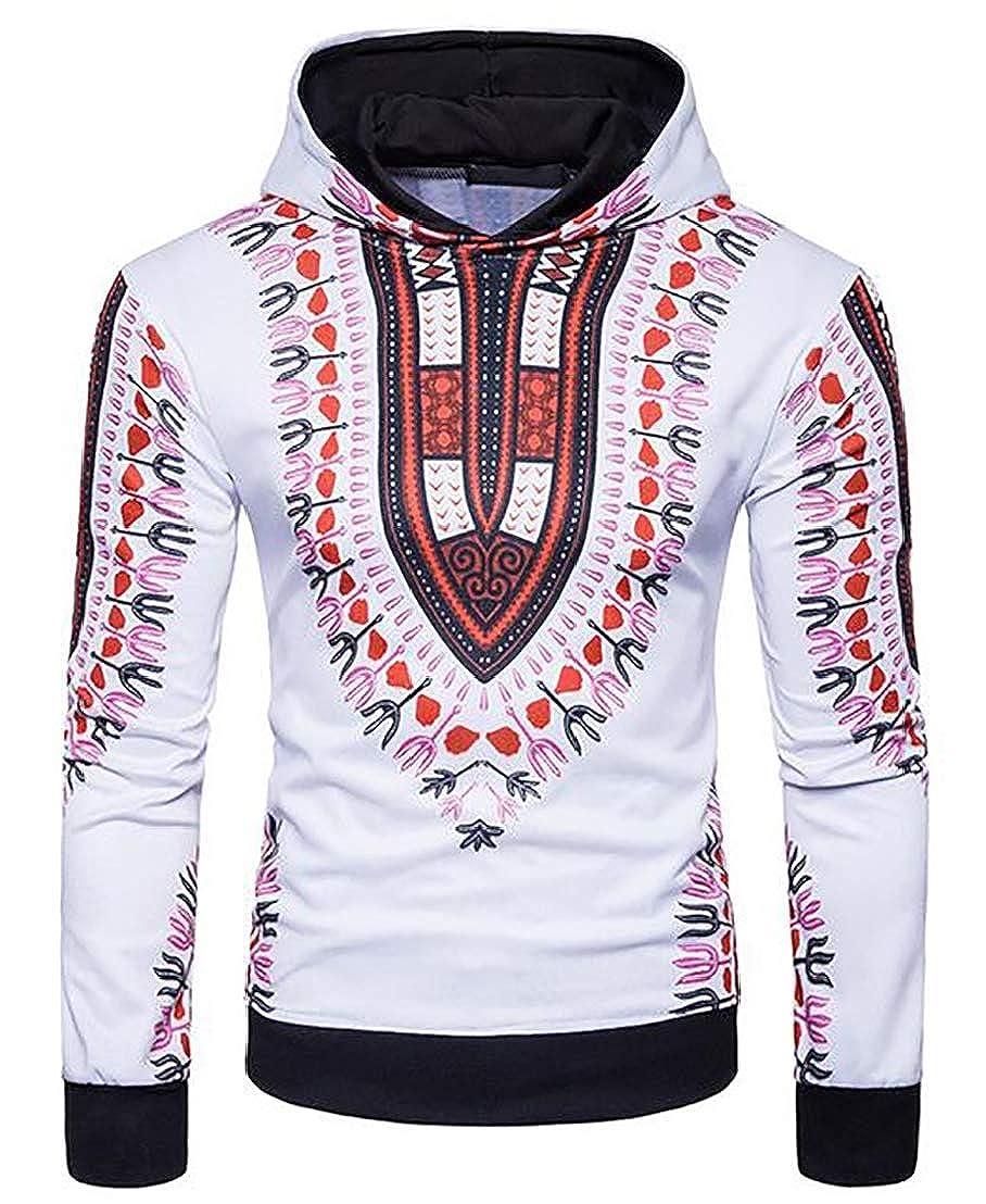 Generic Mens Long Sleeve Hip Hop Tribal Style African Dashiki Hoodie Sweatshirts