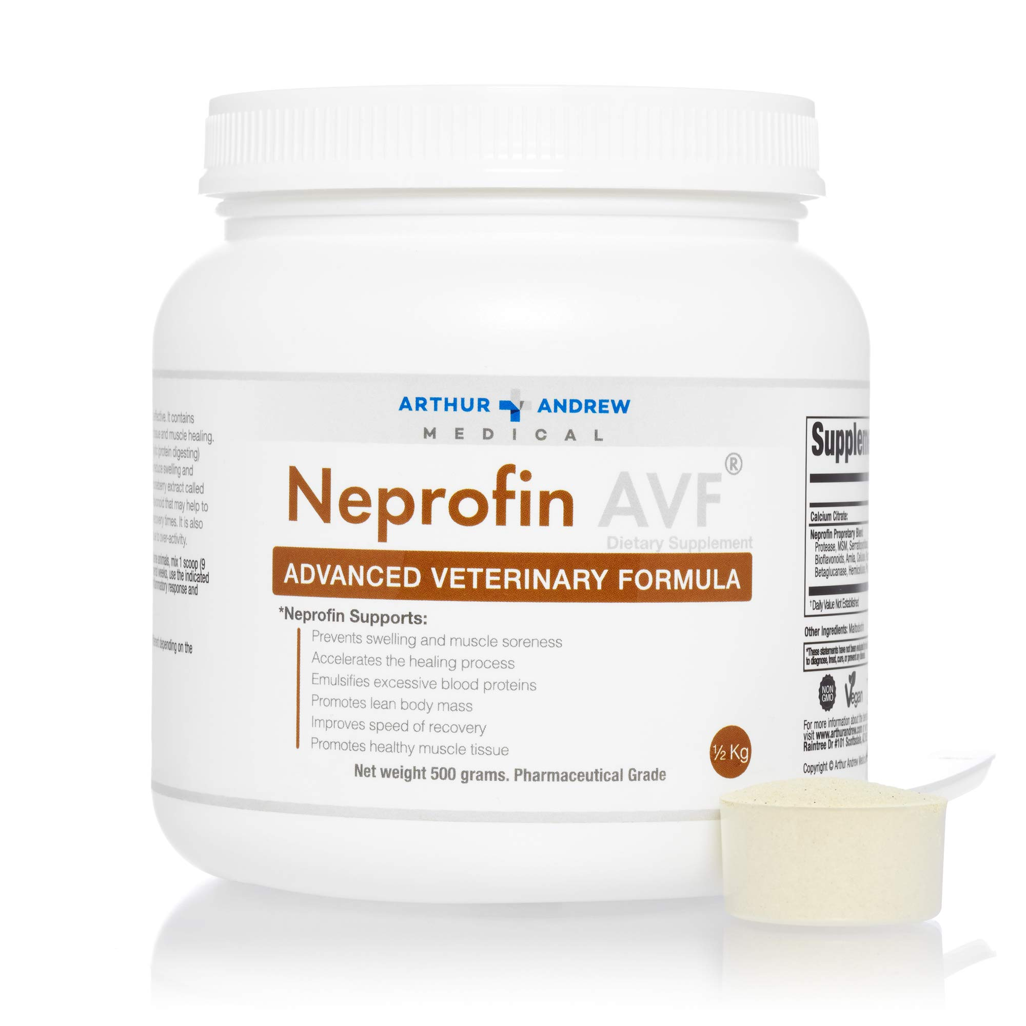 Arthur Andrew Medical - Neprofin AVF, Advanced Veterinary Formula, Large Animal Support for Speedy Recovery and Pain-Free Movement, Vegan, Non-GMO, 0.5kg Tub