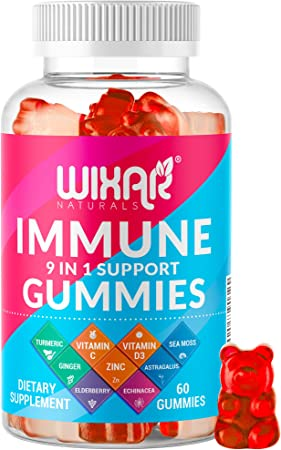 Wixar Naturals 9 in 1 Immune Support Gummies with Elderberry, Vitamin C&D, Zinc, Turmeric, Ginger, Echinacea, Astragalus & Sea Moss for Immunity Supplement - 60 Gummies