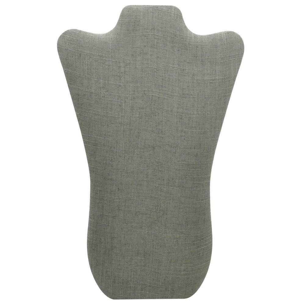 14 Tall Gems on Display CD-6703N-N21 Curved Grey Linen Jewelry Necklace Display Stand Easel