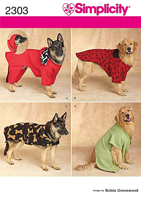 Simplicity Sewing Pattern 2303 Dog Clothes A Alls: Amazon.co.uk ...