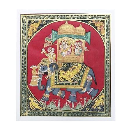 Decorative Slik Home Décor Painting Mughal Emperor With Elephant