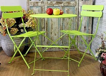 MAXIOCCASIONI Table et chaises de Jardin en Fer Couleur Vert ...