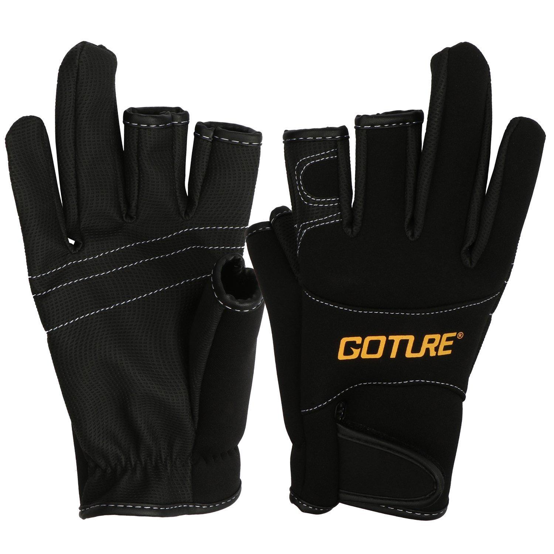Goture Anti-slip Fishing Gloves for Men Waterproof Skidproof 3 Fingerless outdoor sports