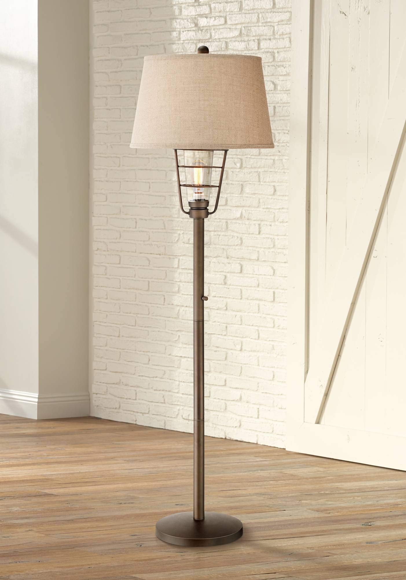 Industrial Floor Lamp with Nightlight LED Edison Bronze Burlap Drum Shade for Living Room Reading Bedroom - Franklin Iron Works
