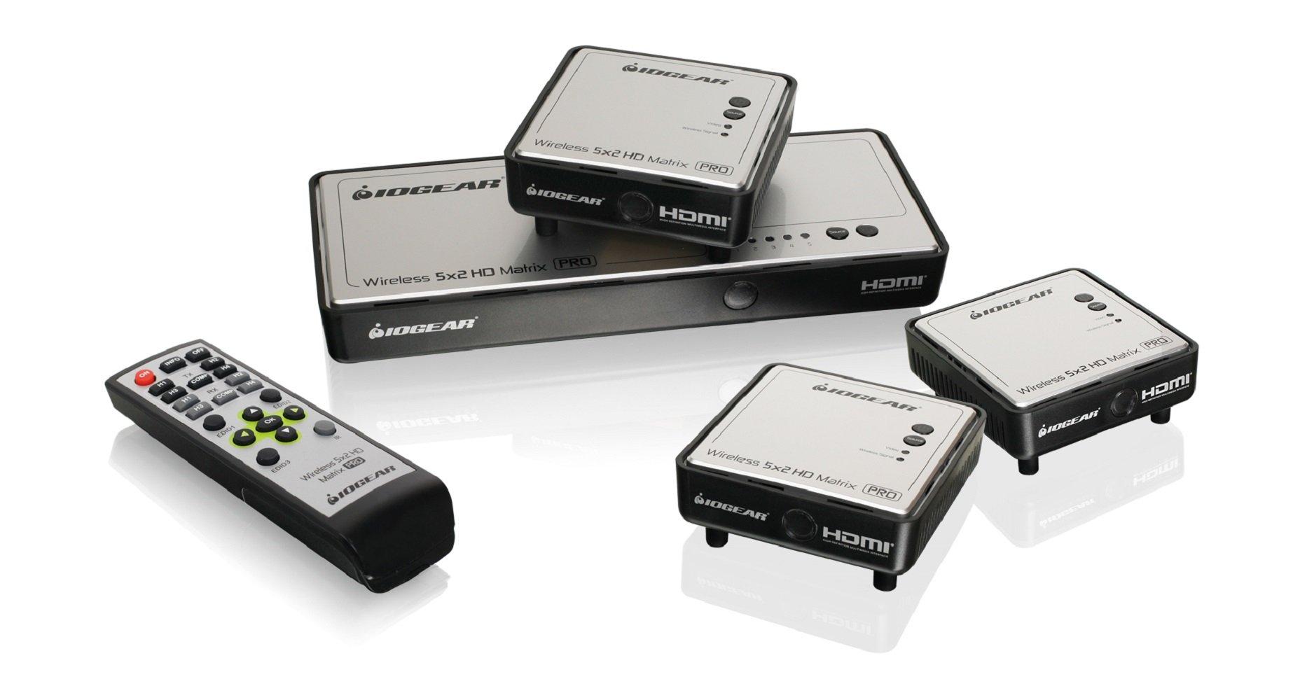 IOGEAR Long Range Wireless 5x2 HDMI Matrix PRO with 2 Additional Receivers, GWHDMS52MBK3 by IOGEAR
