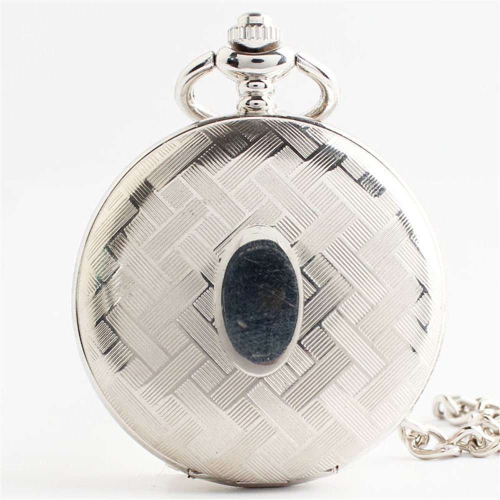 Zxcvlina Classic Smooth Unisex Pocket Watch Silvery Carved Retro Mechanical Pocket Watch with Chain Suitable for Gift Giving