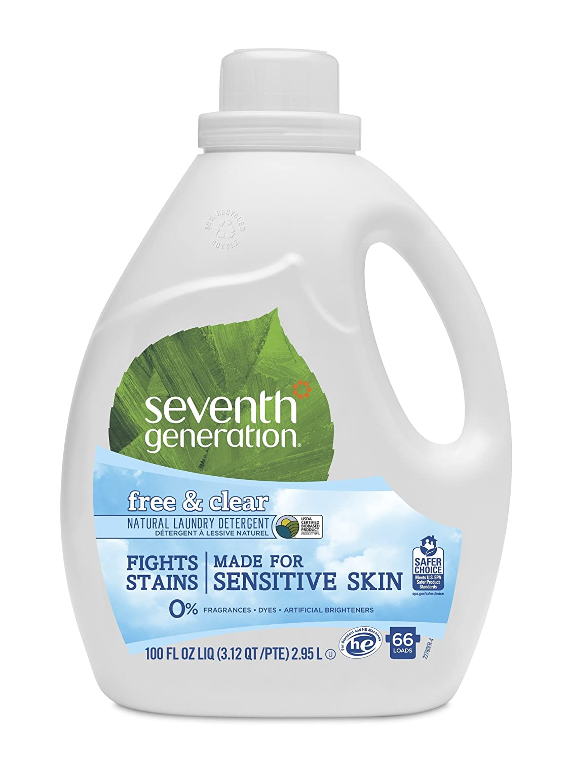 Seventh Generation Liquid Laundry Detergent, Free & Clear, 66 Loads, 100 Fl  Oz, Pack of 1