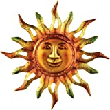 Metallic Iron Sun Wall Art, Hand-Painted in Orange, Yellow, and Green Colors, for Indoor / Outdoor Decor
