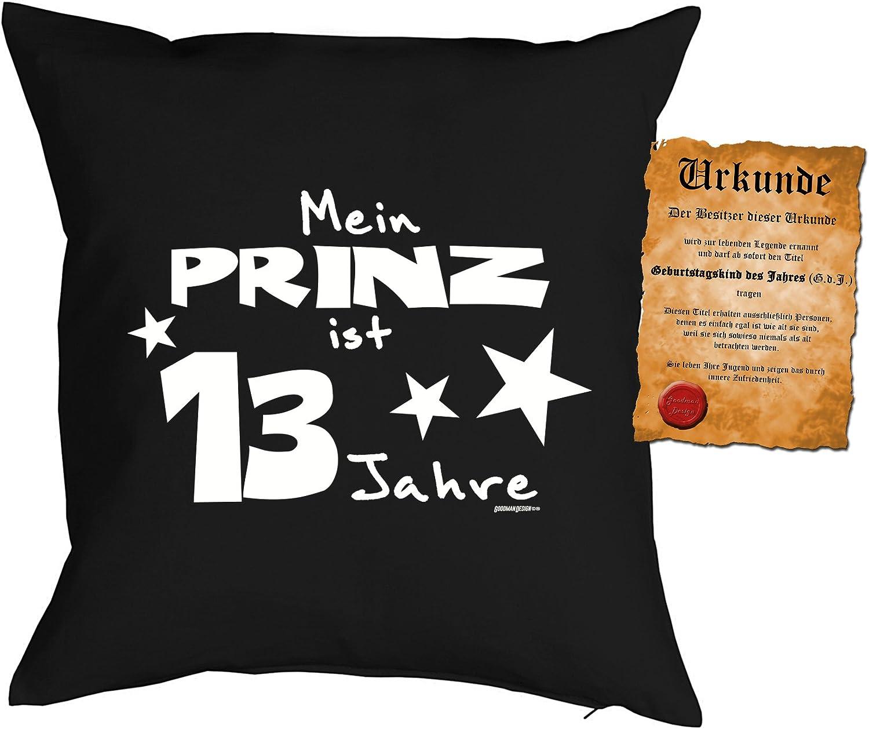 Kuschelkissen Kinder : Meine Prinz ist 13 Jahre 13 Geburtstag Jungen Kissen Dekokissen ohne F/üllung Farbe: schwarz