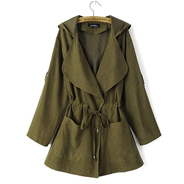 Amazon.com: Travfis Women Trench Coat Spring Elegant Khaki Drawstring Waist Long Coats Famale Casual Windbreakers Ladies Raincoat: Clothing