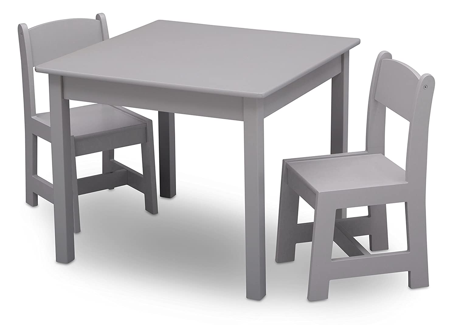 Children Sturdy Wood Chair Set and Table (2 Chairs Included), Grey