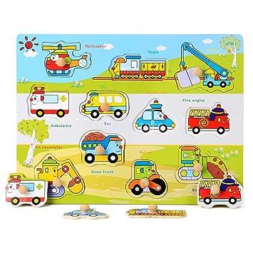 Holzspielzeug Steckpuzzle Verkehrsmittel