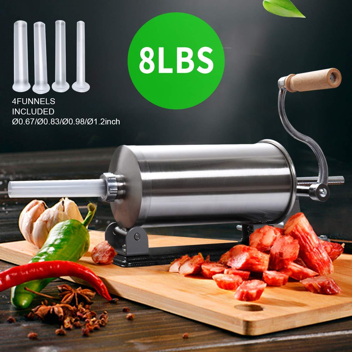 8 LBS Commercial Sausage Stuffers Meat Stuffing Maker Kit Stainless Steel Horizontal by thegreatshopman