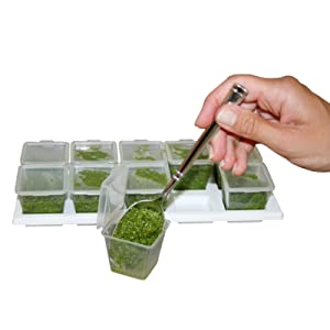 10 Pesto Cubes w/ Tray & Covers 1oz for Smaller Portions Perfect for Baby, Herb, Broth & Sauce