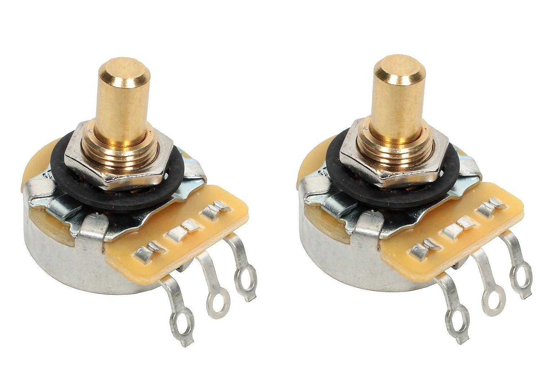 PAIR (2X) CTS 450G Series 250K Short SOLID Shaft Audio Taper Potentiometers / Pots - 10% Tolerance 450GT25R254A2L