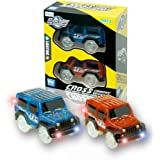 Car Track,MIGE Track Car Light Up Toy Car Glow in the Dark Track Car Accessories Compatible with Most Racing Tracks,Boys and Girls(Pack of 2)
