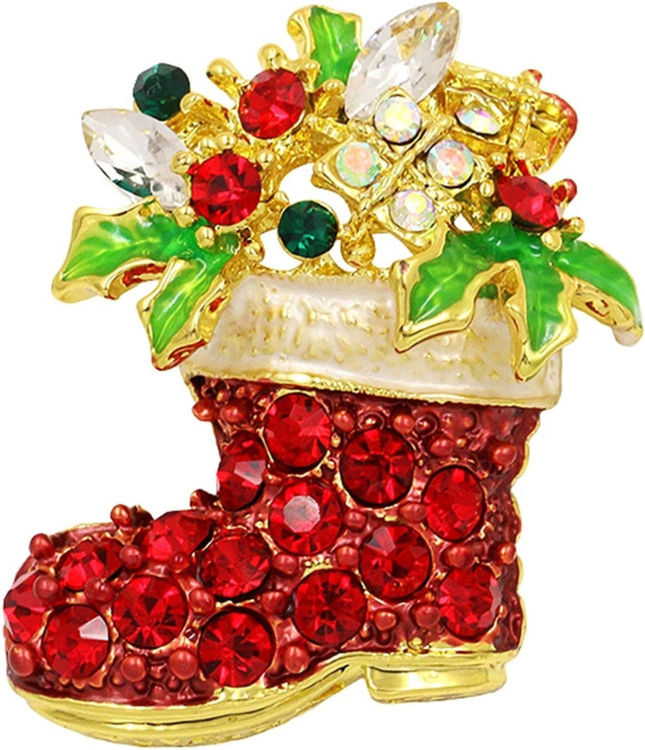 Brooch Pins-Christmas Santa Boots Socks Red Rhinestones Brooches for Christmas Gold Color Plated