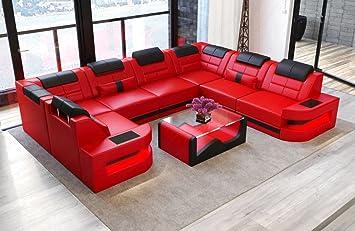Sofa Dreams Como U Form Paysage En Cuir Rouge Noir Amazon Fr