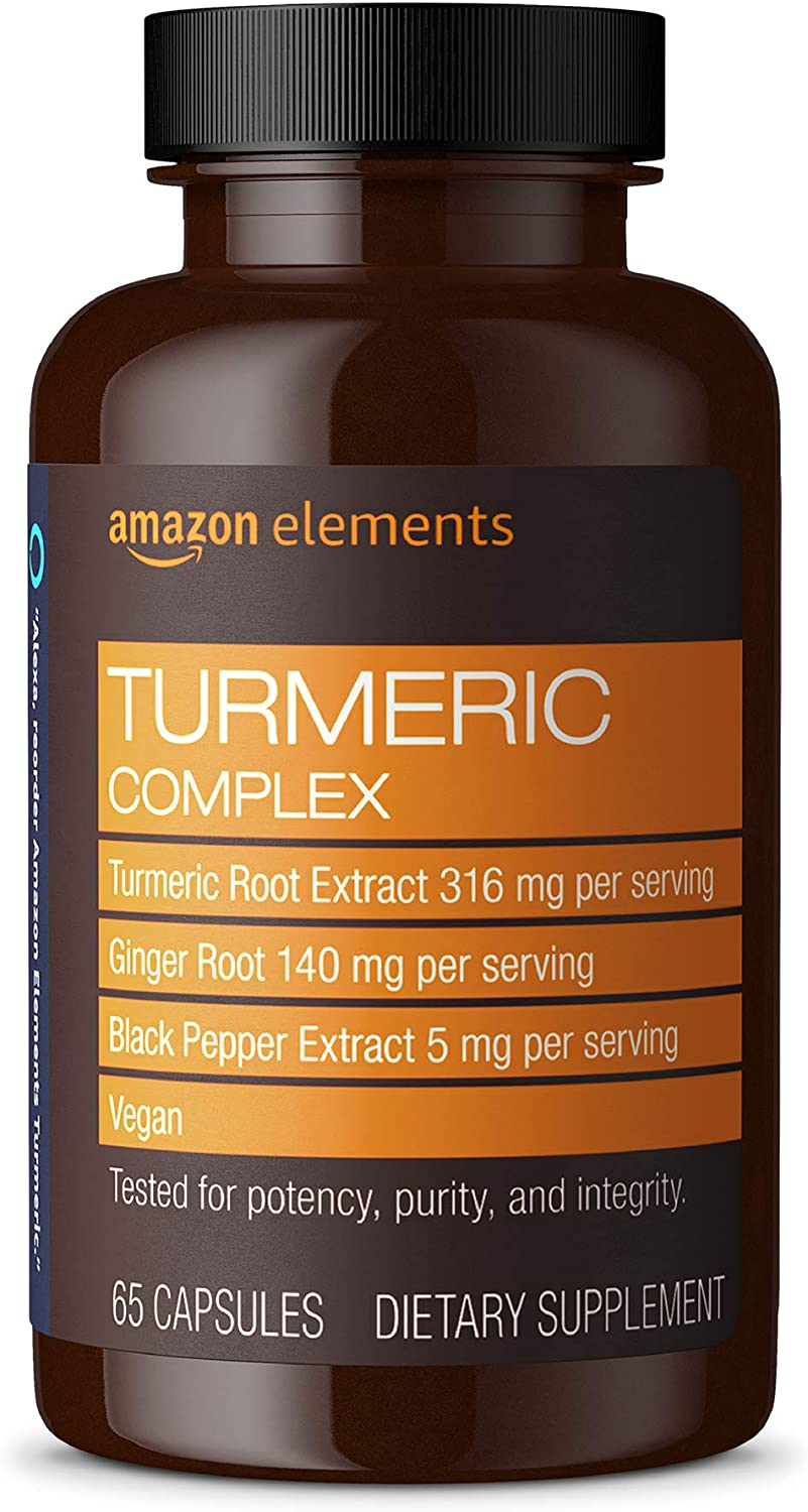 Amazon Elements Turmeric Complex, 316 mg Curcumin, 140 mg Ginger, 5 mg Black Pepper - Joint & Immune System, Healthy Inflammation Response - 65 Capsules (2 month supply)