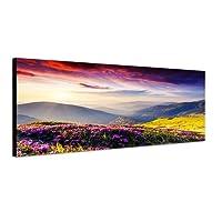 Panoramabild auf Leinwand und Keilrahmen 120x40cm Ukraine Blumenwiese Berge Abendsonne