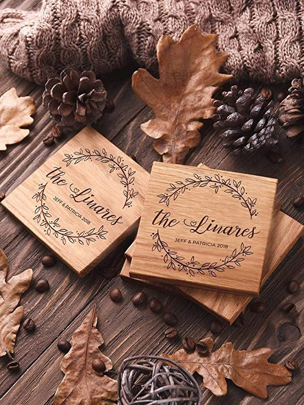 Personalized Laser Engraved Bridal Shower Gift Chicago Themed Custom Wood Coasters Birthday Wedding Real Wood Options Set of 4