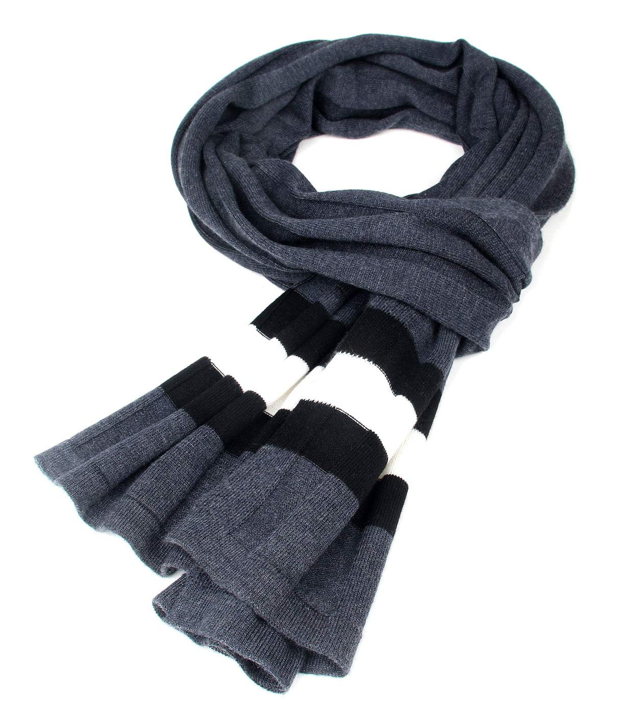 Men Plain Thermal Scarf Knitted Striped Winter Scarves One Size Leisure Business Men Warm Neckerchief Gray by Panegy (Image #6)