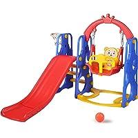 Kinder King 4 in 1 Toddler Slide and Swing Set, Kids Climber Slide w/ Basketball Hoop, Toddler Playset for Indoor…