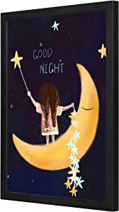 Good night starts Wall Art with Pan Wood framed Ready to hang for home, bed room, office living room Home decor hand made Black color 33 x 43cm By LOWHA