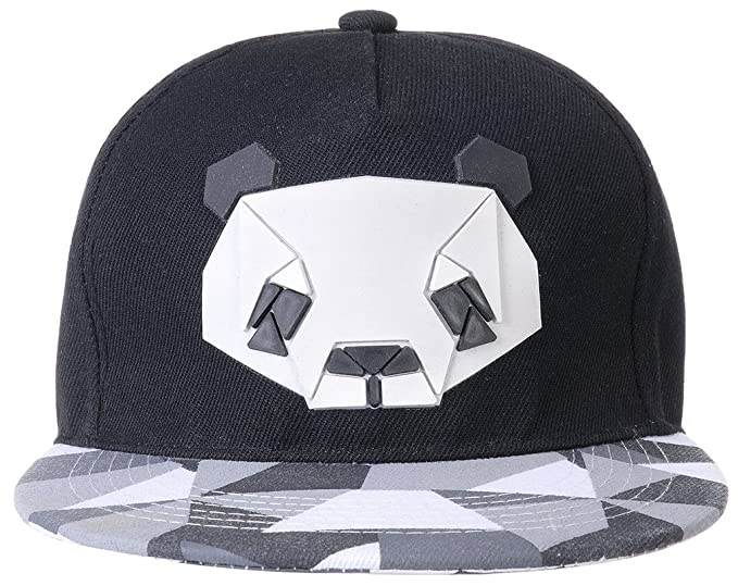 6a140847253 ChezAbbey Summer Adjustable Snap Back Flat Brim Outdoor Baseball Cartoon Hat  Panda Print Hip Hop Trucker