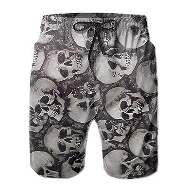 Skulls Pattern Mens Surfing Board Shorts Quick Dry Swimming Trunks XXL