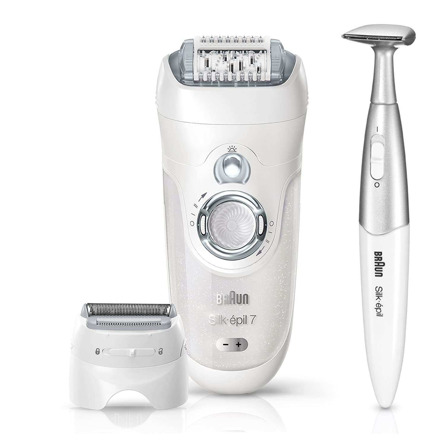 Braun Silk-épil 7 7-561 Epilator for Women, Wet & Dry Hair Removal, White/Silver, with 8 Extras Including Bikini Trimmer