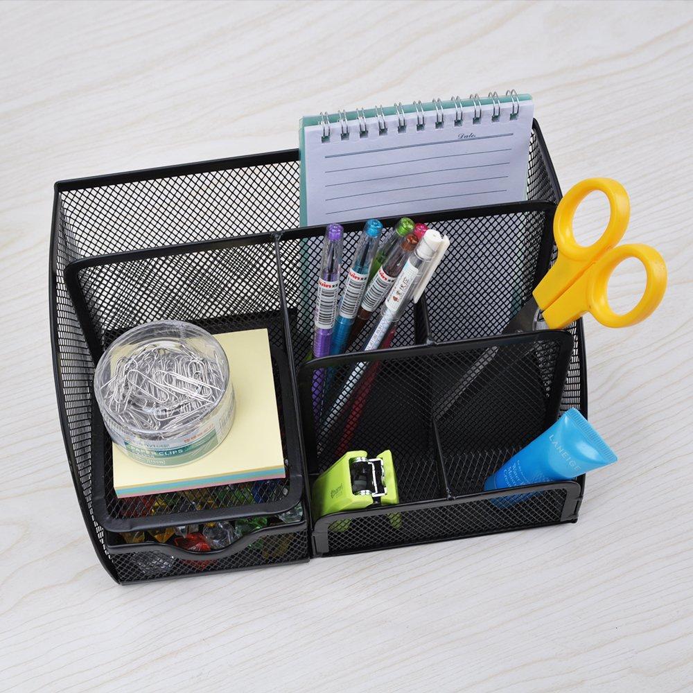 Aibecy Organizador de Escritorio para Oficina //Desktop Organizer Malla Met/álica Multifuncional con 7 Compartimentos de Almacenamiento,Color Negro