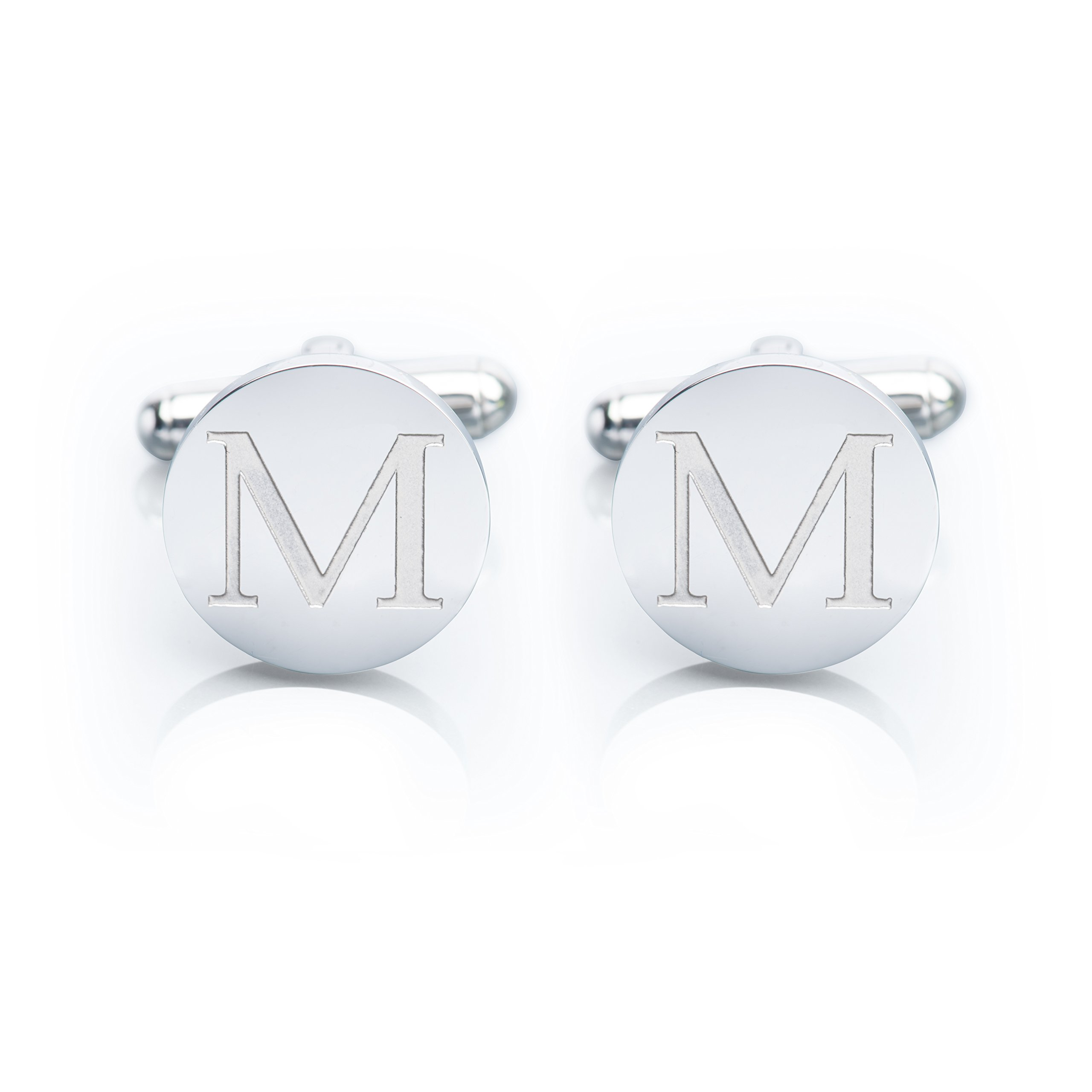 Men's 18K White Gold-Plated Engraved Initial Cufflinks with Gift Box– Premium Quality Personalized Alphabet Letter (M - White Gold) by Iron & Oak (Image #1)