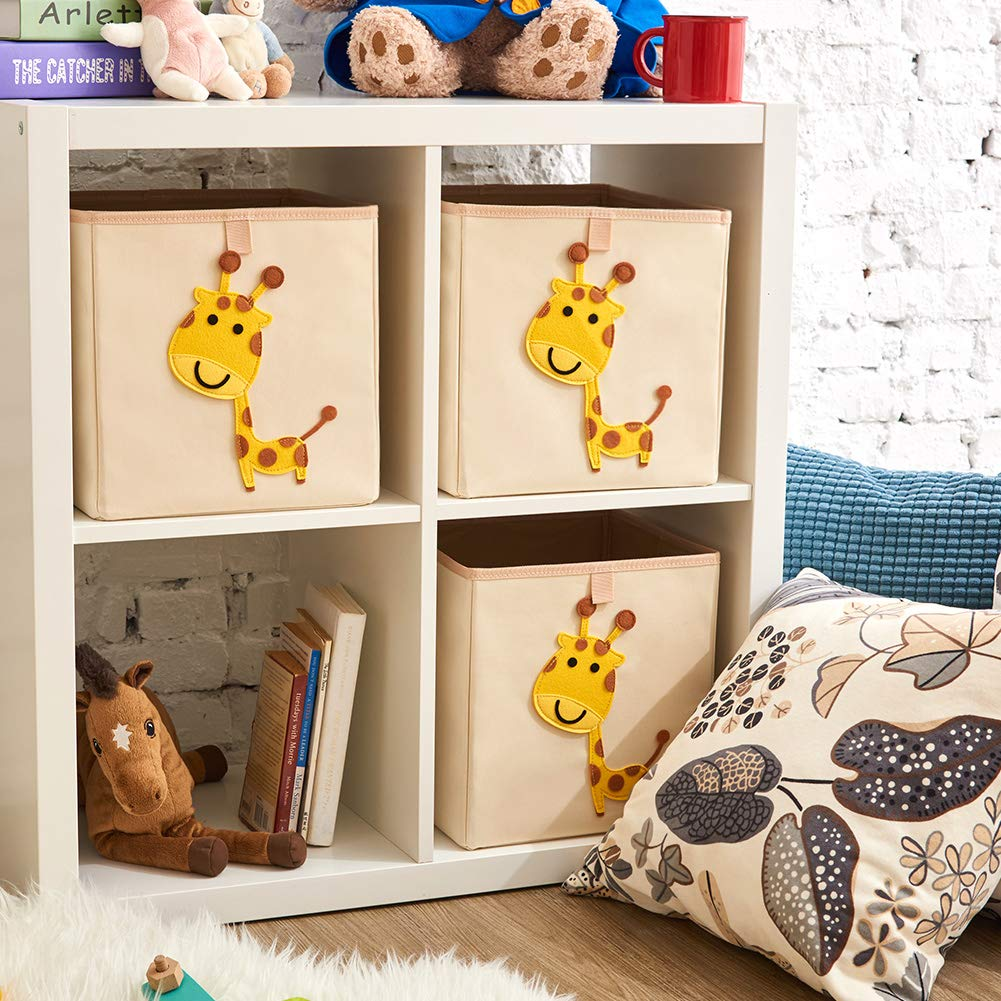 Collapsible Storage Cube for Nursery Home EZOWare Set of 3 Foldable Fabric Basket Bin 33 x 38 x 33 cm, Giraffe Kids and Toddlers -