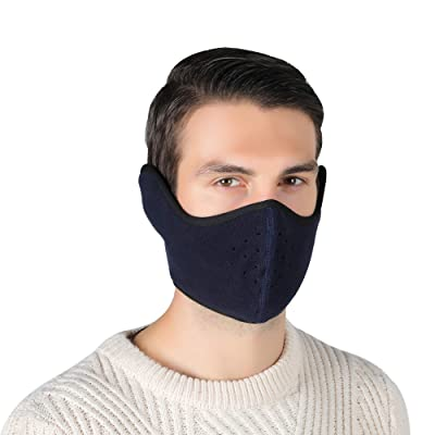 Unisex Winter Ski Mask Outdoor Protect Face Cover Earmuffs Balaclava Cycling Bicycle Motorcycle Mask (Dark Blue): Automotive
