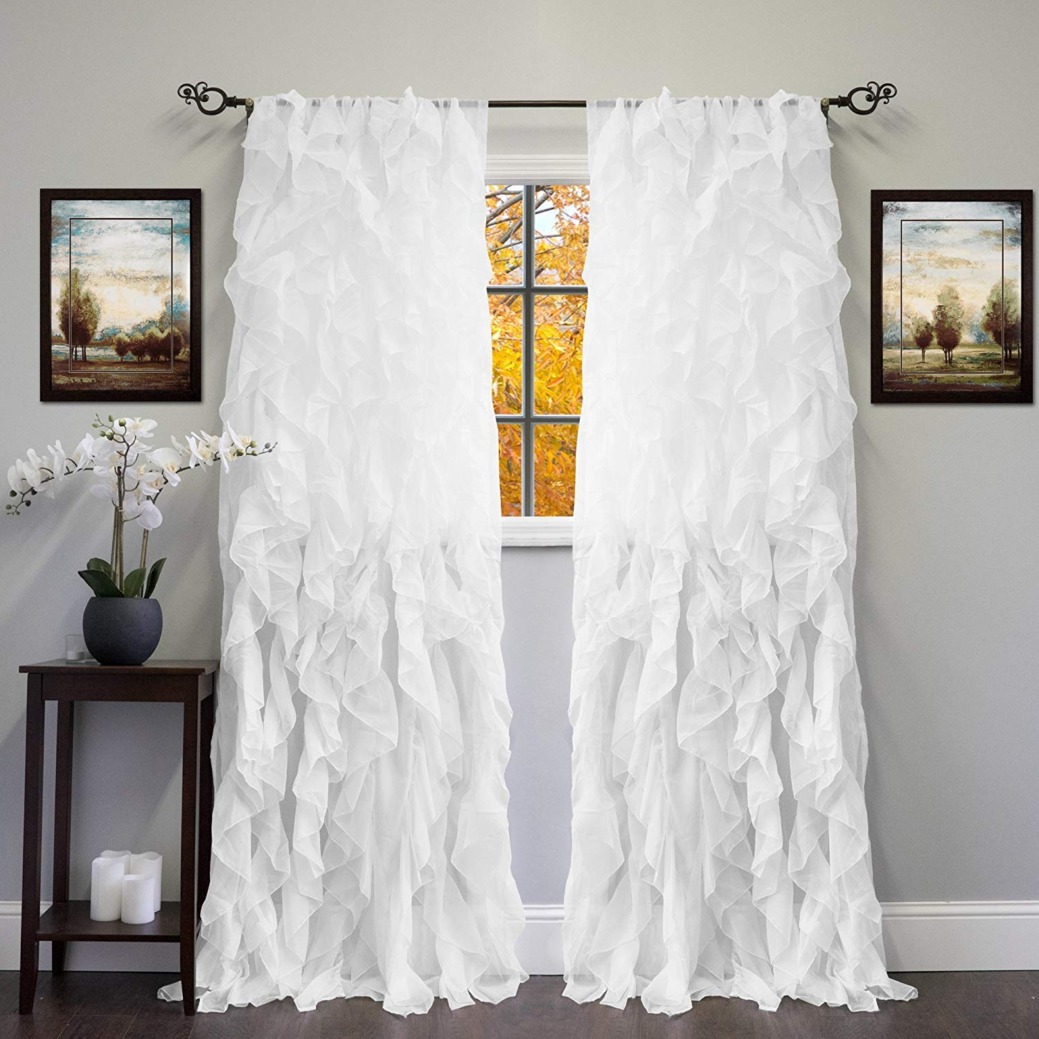 Linens And More 2 Panel Window Sheer Voile Vertical Ruffled Waterfall Curtains84 inches Long x 50 inches Wide (White)
