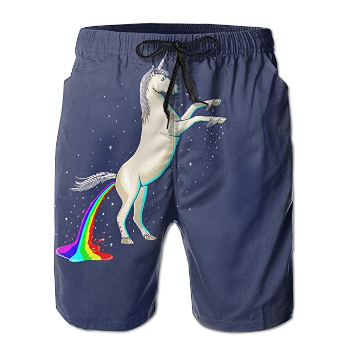 7b80a10700cb7 Men's Funny Unicorn Shitting Rainbows Beach Short Cotton Boardshort Swim  Short at Amazon Men's Clothing store:
