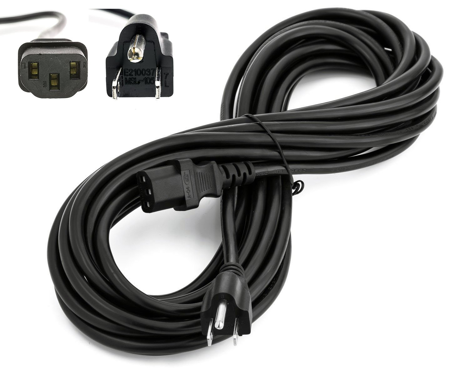 Amamax 25 Feet Extra Long AC Power Cord Cable for Vizio TV 3 Prong (NEMA 5-15P to IEC 60320C13) - UL Listed