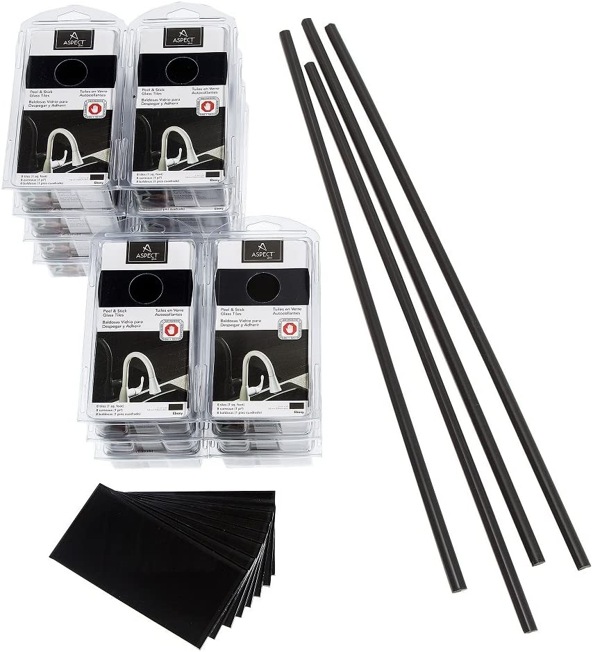 - Aspect Peel And Stick Backsplash Kit Ebony Glass Tile For Kitchen