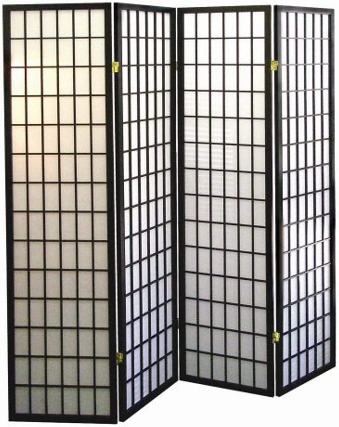 ORE International 4-Panel Shoji Screen Room Divider, Black: Furniture & Decor