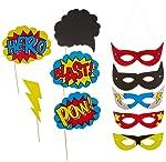 Ginger Ray Comic Superhero Kaboom Party Treat/Ice Cream Tubs, Mixed