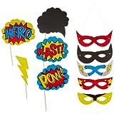 Ginger Ray Superhero Party Photo Booth Requisiten & Masken - Comic Superhelden