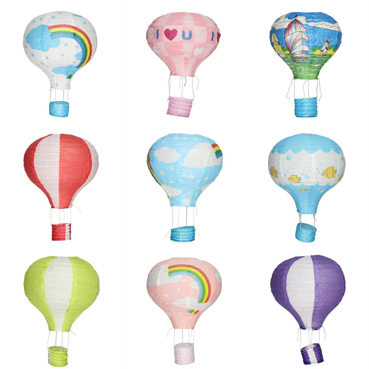 YueLian Wedding Hallowmas Xmas Party Home Decorations Hot Air Balloon Paper Lanterns (25cm, 2)