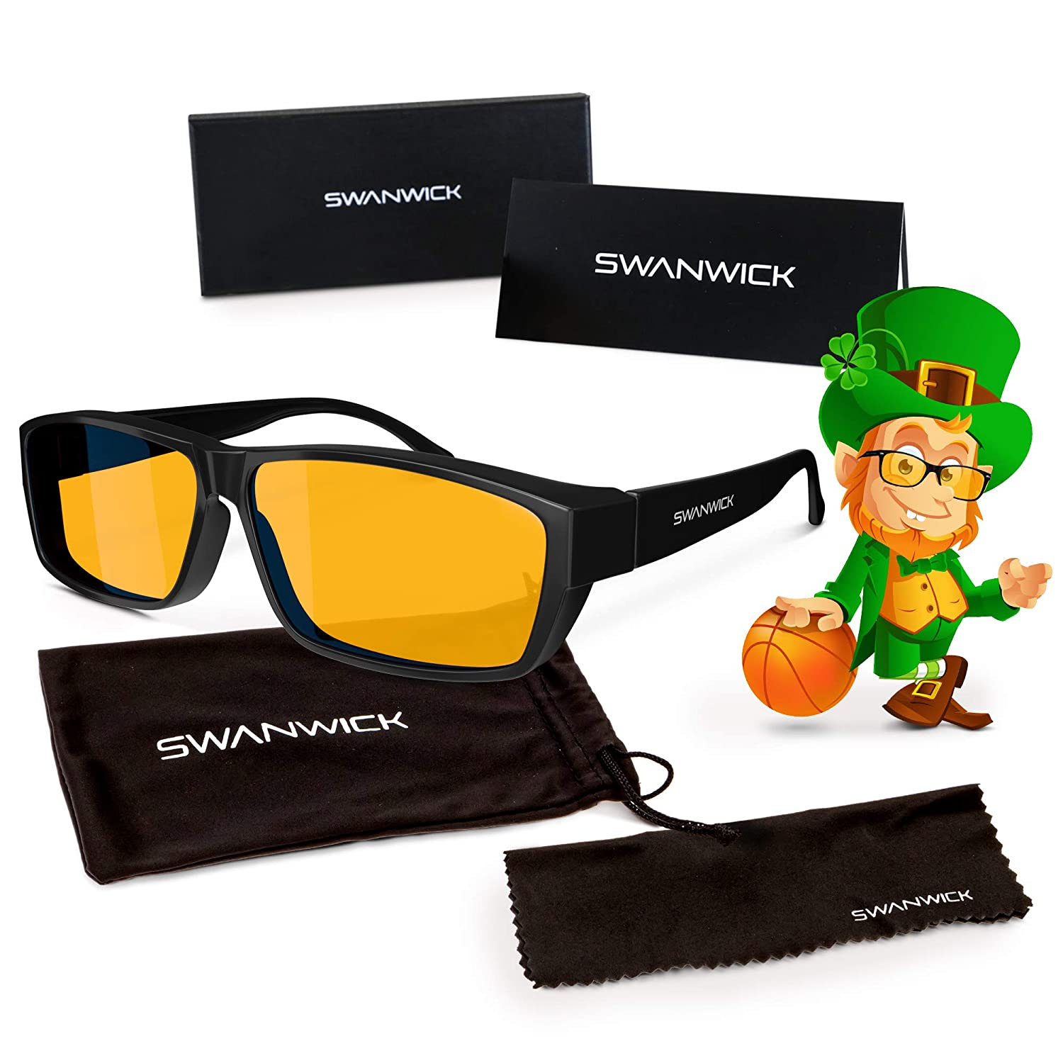 3d4cb6f70a Swanwick Sleep Fitover Blue Light Blocking Glasses and Computer Eyewear - Wear  OVER your Prescription Glasses or Readers