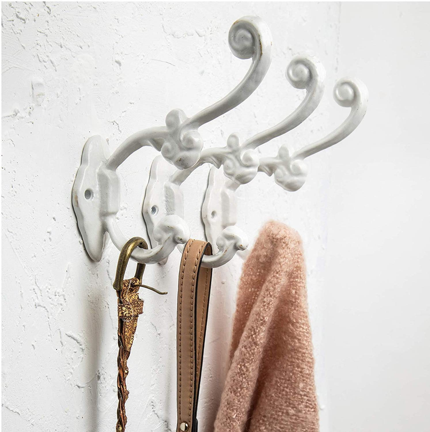 Towels and More Sturdy Cast Iron Hooks in Rustic Brown Color Shabby Chic Set of 4 Wall Mounted Hooks for Coats Vintage Hooks for Farmhouse D/écor Bags Decorative Rustic Wall Hooks
